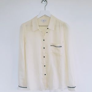 Gap | Button Down Sheer Cream Blouse - Sz M